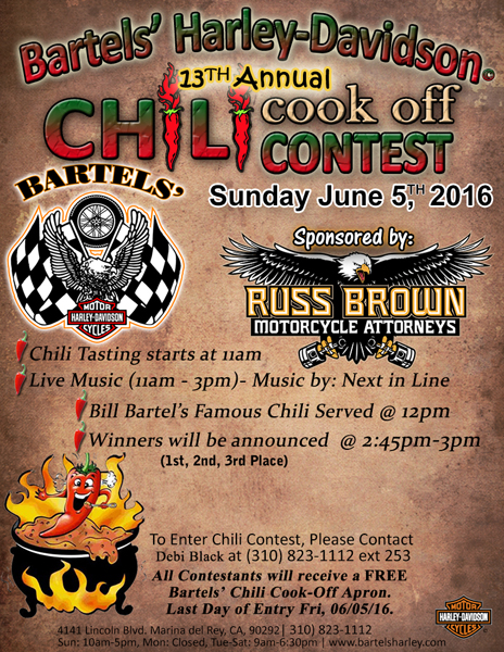 The Chili Cook-off analysis at Bartels Harley-Davidson