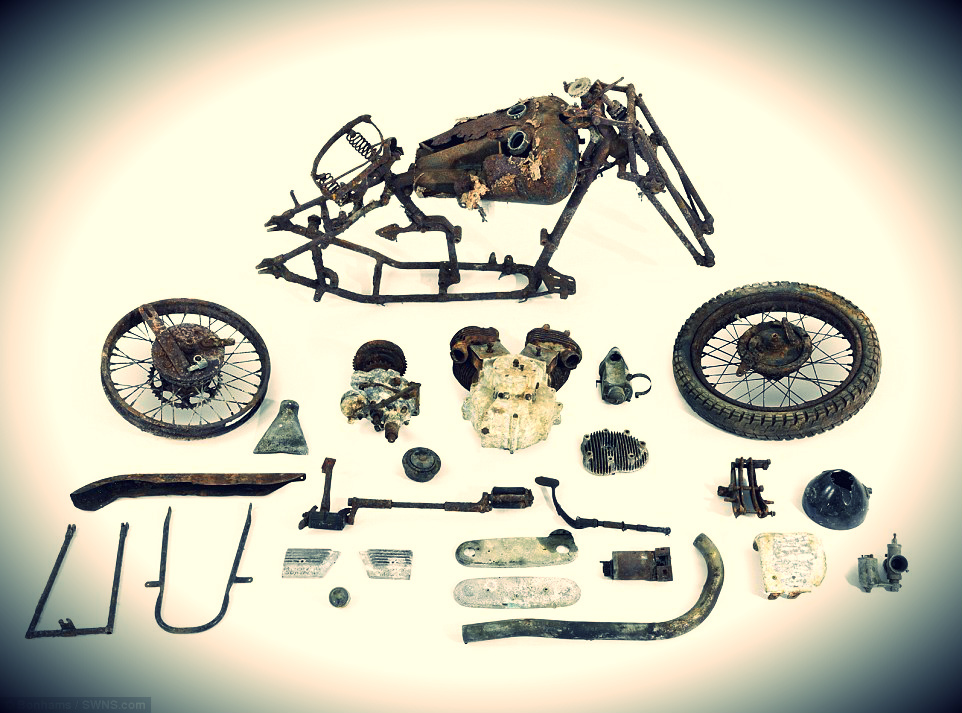 1936 Brough Superior SS80 which were found in a bard in Bodmin, Cornwall
