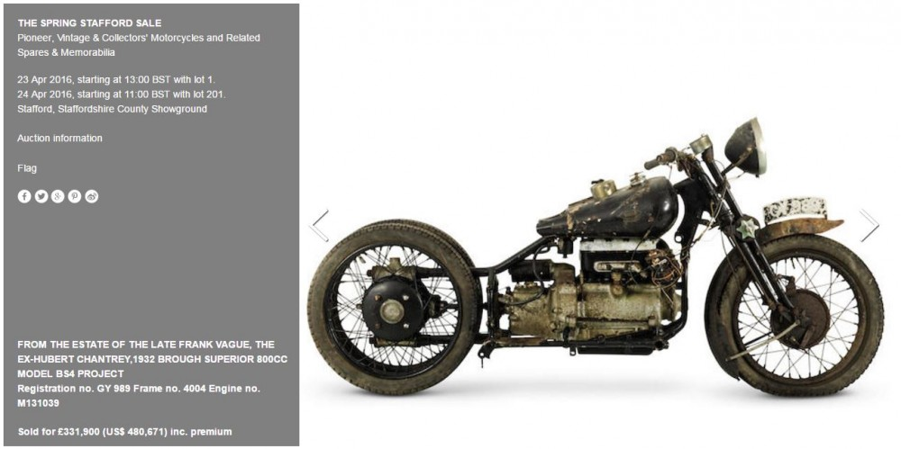 Brough  Superior motorcycle breaks world record at auction