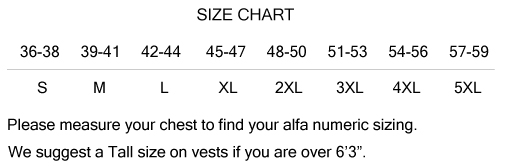 Leather Vest Size Chart